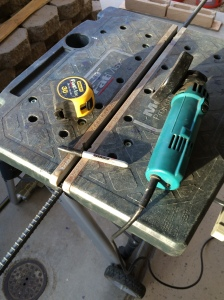"Tools for rebar cutting: Measuring tape, 4"" grinder, work stand (work-mate or equivalent) and a sharpie."