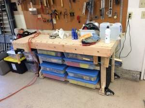 Finished Workbench With Tools
