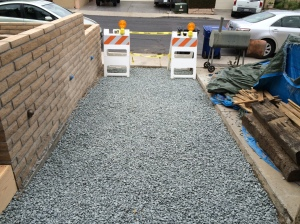 Front entrance gravel all level and compact. Ready for the forms.