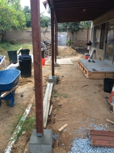 After -- New posts and footings for the patio cover.