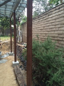 New footings and posts for the trellis.