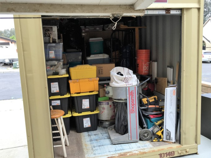 The storage container, all packed up. There's a lot of room still in the overhead spaces, but the idea was to keep things accessible, especially for all of the tools.