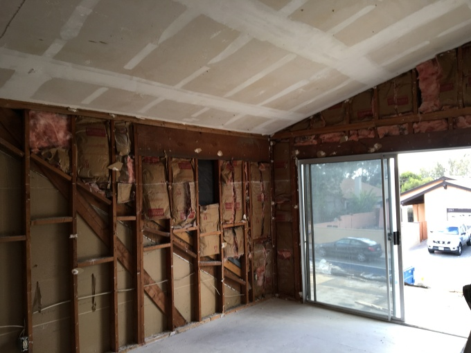 All drywall removed.