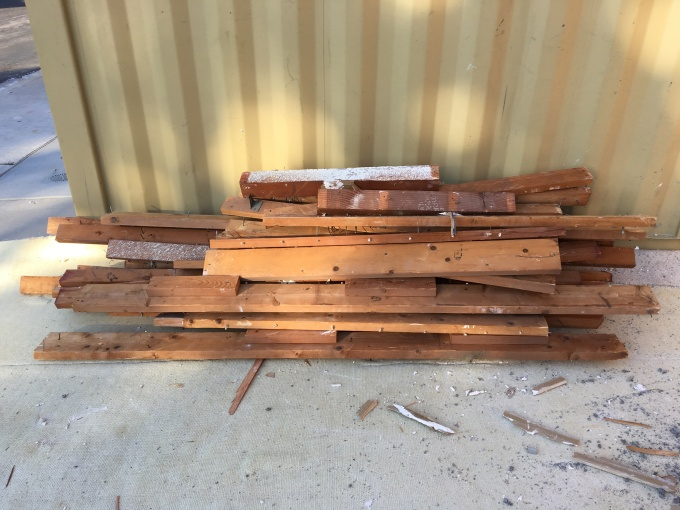 Wood I salvaged from the framing demolition. I advertised it for free on Craigslist, and it was gone in a day.