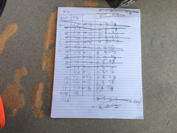 My worksheet to keep track of what joist goes where.