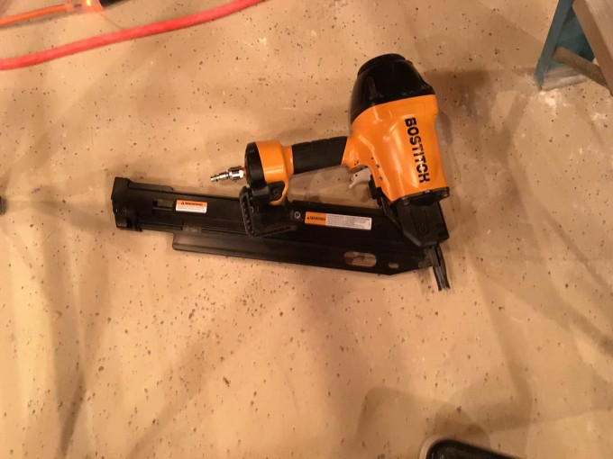 My new pneumatic nail gun. The new tool for this project. I know, a REAL framing carpenter only uses a hammer, but nobody does that anymore these days.