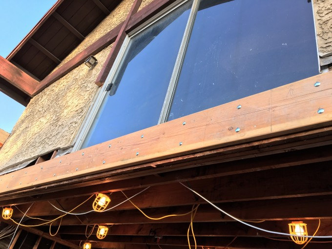 New joist all bolted into place. See the gap between the bottom of the new joist and the bottom of the existing beam?