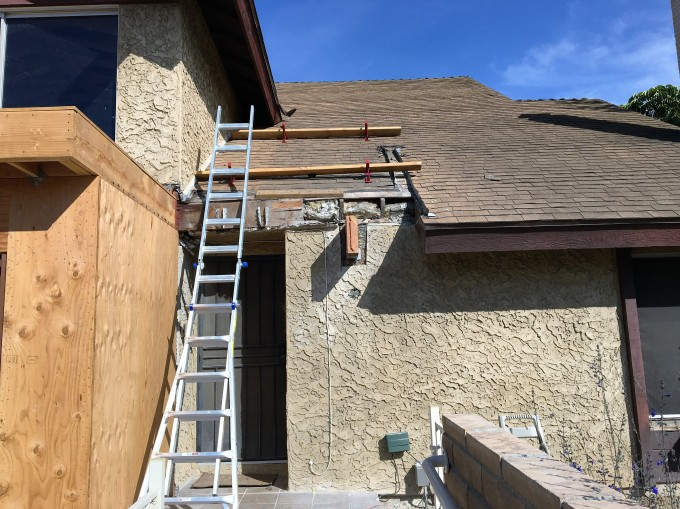 Roof safety: Roof jacks to provide a solid base for working.