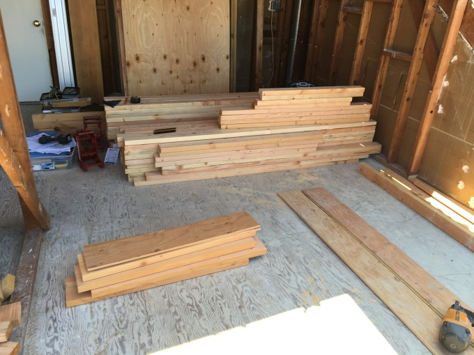 "Wall lumber cut to length and organized to form a ""kit"". I did this for the lumber for all three walls."