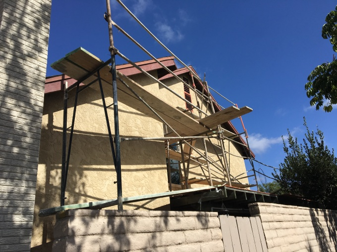 Scaffolding on the West side of the house. Scaffold set-up and take-down is a significant part of the cost of the work.