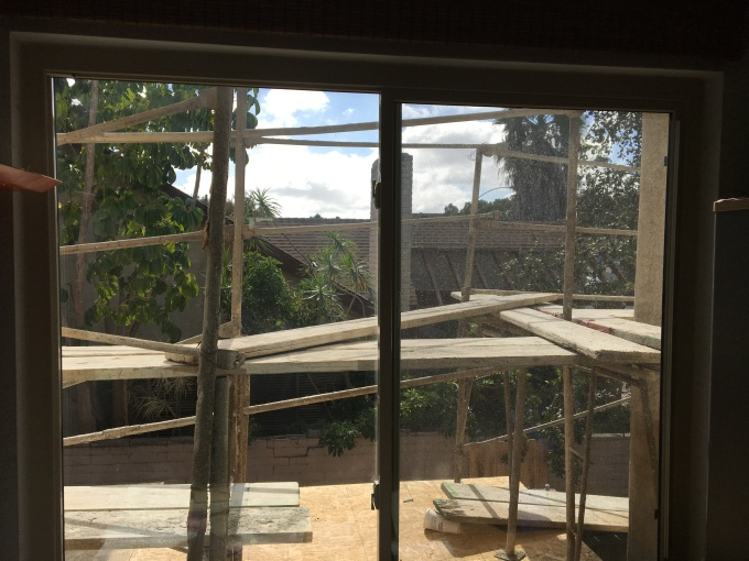 Scaffolding outside my loft window. I'm glad somebody else is doing this work while dancing on scaffolding!