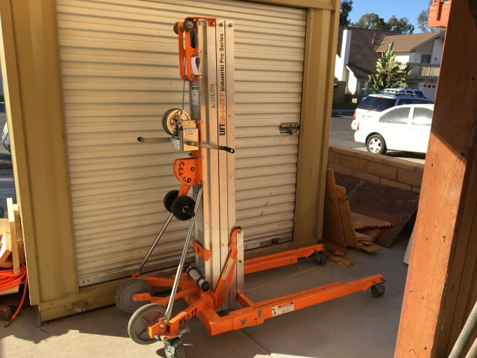 I rented a material lift to get all of the plywood and drywall up to the second floor.